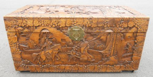 Carved Camphor Wood Blanket Chest